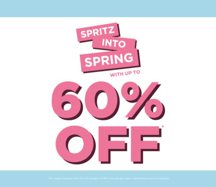 Spritz Into Spring with up to 60%* off perfumes and aftershaves at The Fragrance Shop
